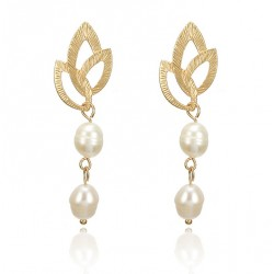 Vintage Irregular Freshwater Pearl Dangle Earrings with Golden Leaves