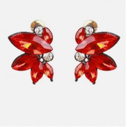 Simple Small Wing Symmetric Crystal Earrings