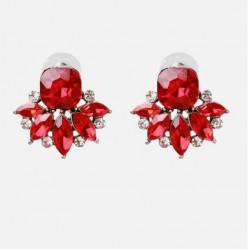 Pendientes en forma de flor con gran cristal color rojo o verde