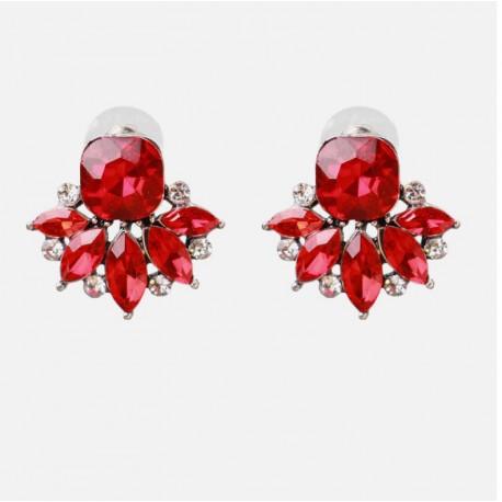 Green or Red Crystal Flower Stud Earrings