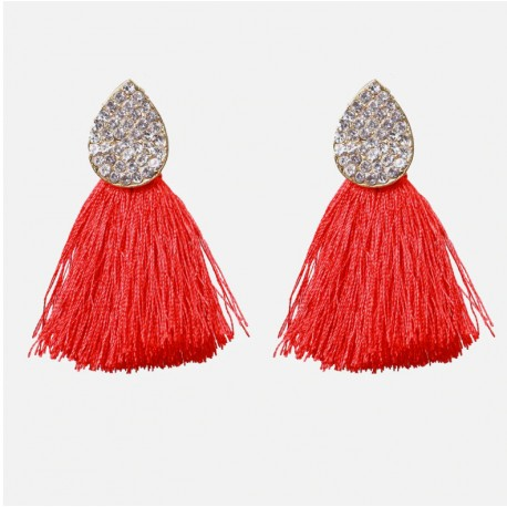 Crystal Earrings with Red Cotton Tassel Earrings