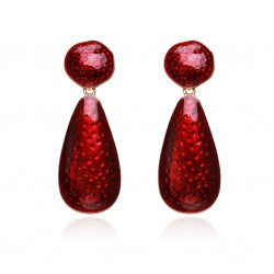 Red Color Water Drop Earrings For Women