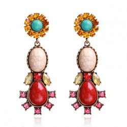 Pendientes largos estilo retro con piedras y cristales azules o rojos