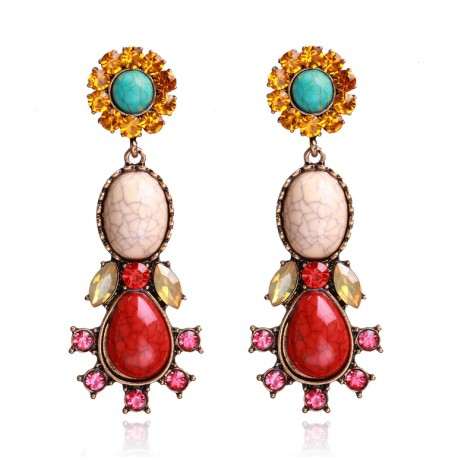 Ethnic Style Maxi Earrings with Red or Turquoise colour Stones ans Crystals