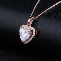 Luxury Cubic Zirconia Heart Pendant Necklace