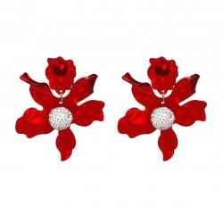 Big Resin Flower Drop Earrings with Crystal