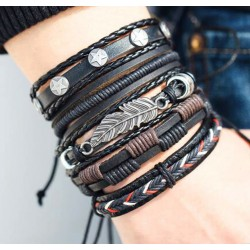 Men Genuine Black Leather Bracelets Set