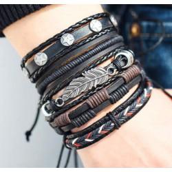 Men Genuine Black Leather Bracelets Set