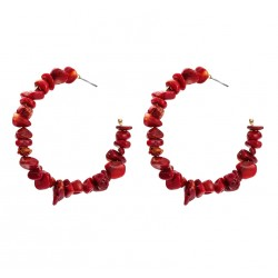 Maxi Circle Earrings With Natural Red Coral or Blue Turquoise Beads