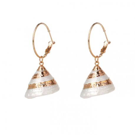 Sea Shell Pendant Gold Statement Earrings