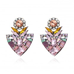 Flower Stud Crystal Earrings For Women Fashion