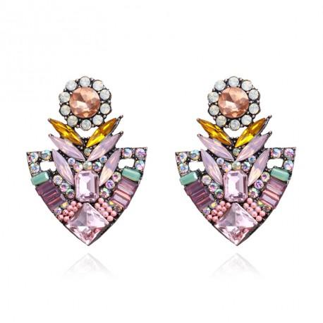 Flower Stud Crystal Earrings For Women Fashion