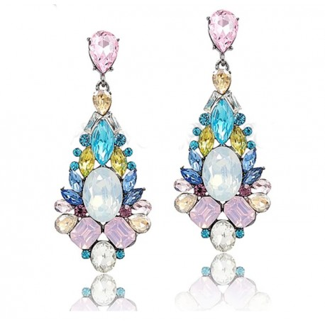 Luxury Crystal Drop Earrings with Multicolor Crystals