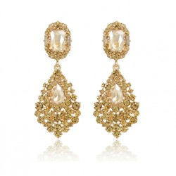 Crystal Drop Long Earrings Color Champagne