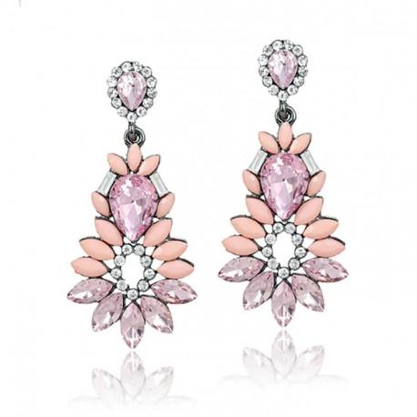 Pendientes en forma de flor, con cristales en tonos pastel y rosas