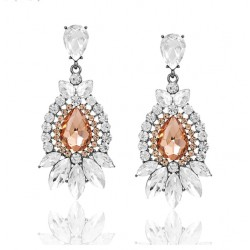 Fashion Crystal Long Wedding Drop Earrings for Woman