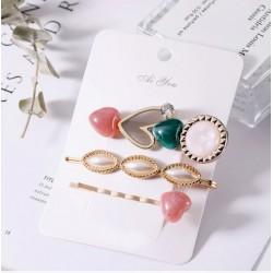 Set conjunto de 3 horquillas con perlas y piedras acrílicas