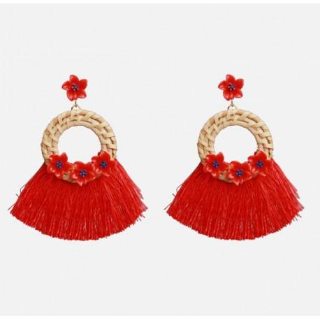 Rattan Pendant Long Tassel Earrings with Flowers