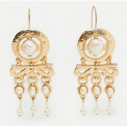 Pendientes grandes estilo retro dorados con colgantes con perlas