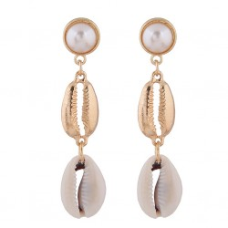 Fachion Earrings With Natural Seashells Cowrie