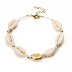 Ethnic Style Bracelet or Anklet with Natural Cowrie Shell