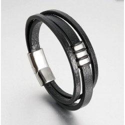 Genuine Leather Bracelet with Stainless Steel Magnetic Clasp