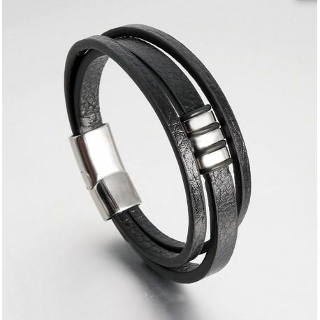 Pulsera de cuero negro de tres capas con adornos de acero inoxidable