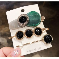 Set of 3 Geometric Hairpins with Black Crystals