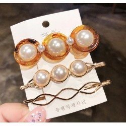 Elegant Acrylic Pearl and Stones Geometric Hairpins