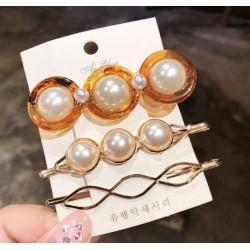 Set conjunto de 3 horquillas con perlas
