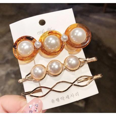 Elegant Acrylic Pearl and Stones Geometric Hairpins