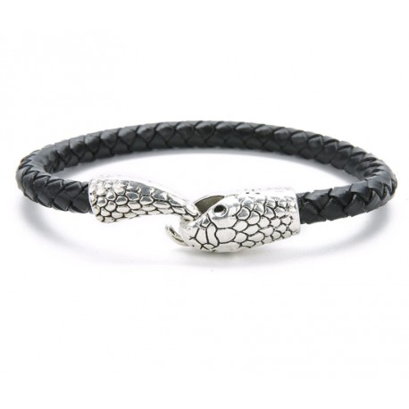 Vintage Silver Gold Snake Easy-Hook Leather Bracelet For Men