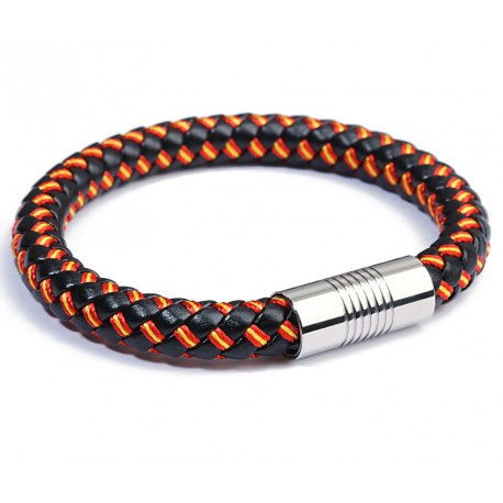 PU Leather Bracelet for Men With Spanish Flag Design