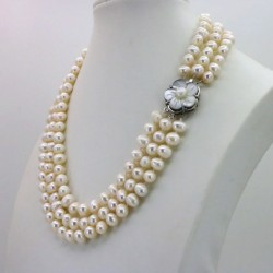 3 Row White Freshwater Pearl Necklace with Flower