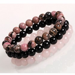Set of Natural Stone Bracelets 8mm with Black Onyx, Rhodonite, Rose Quartz
