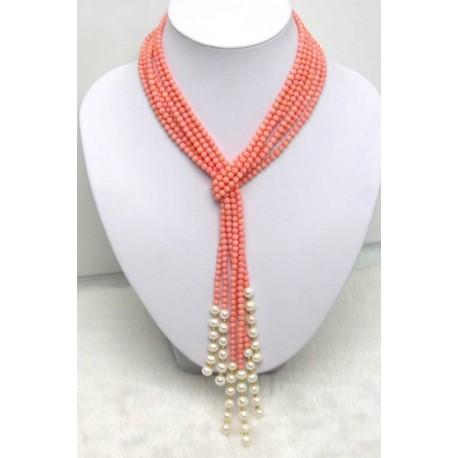 Collar largo con bolas de coral rosa pulido y perlas