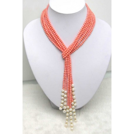 Natural Pink Coral and Pearls Long Necklace for Women with 3 Strands