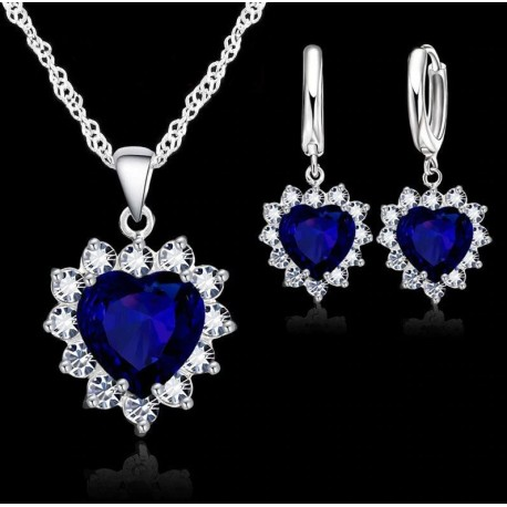 Cubic Zirconia Crystal Heart Jewelry Set Necklace and Earrings