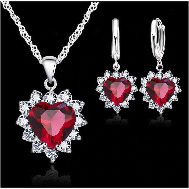 Rosa de Cristal Corazón Colgante Pendiente Collar De Mujer Joyería conjuntos.