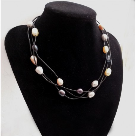 Multi Strand Multi Color 10-12mm Natural Freshwater Pearl Necklace With Black Leather Cord