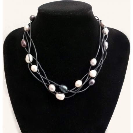 4 Strand Multi Color 10-12mm Natural Freshwater Pearl Necklace With Black Leather Cord
