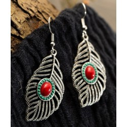 Bohemia Bronce & Silver Leaf Shape Natural Stone Earrings