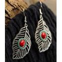 Bohemia Bronce & Silver Leaf Shape Natural Stone Earrings