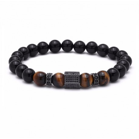 Men Bracelets with Hexagon Natural Stone Beads Onyx and Tiger Eye
