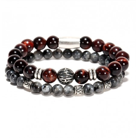 Men Bracelets with Lava & Red Tiger Eye Stone Beads with Stainless Steel