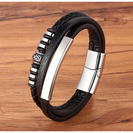 Men Jewelry Stainless Steel Black Genuine Leather Bracelet