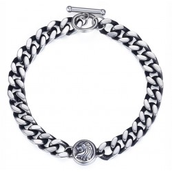 Lion Charm Bracelet For Men Stainless Steel Silver Tone