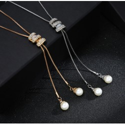 Simulated Pearl Long Sweater Chain Necklace
