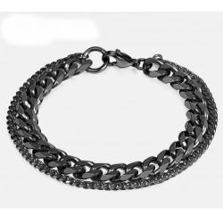 Double Chain Bracelet for Men Polished Stainless Steel