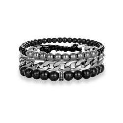 3PCS Multi-layer Leather Beaded Charm Bracelet with Natural Onyx and Hematite Stone